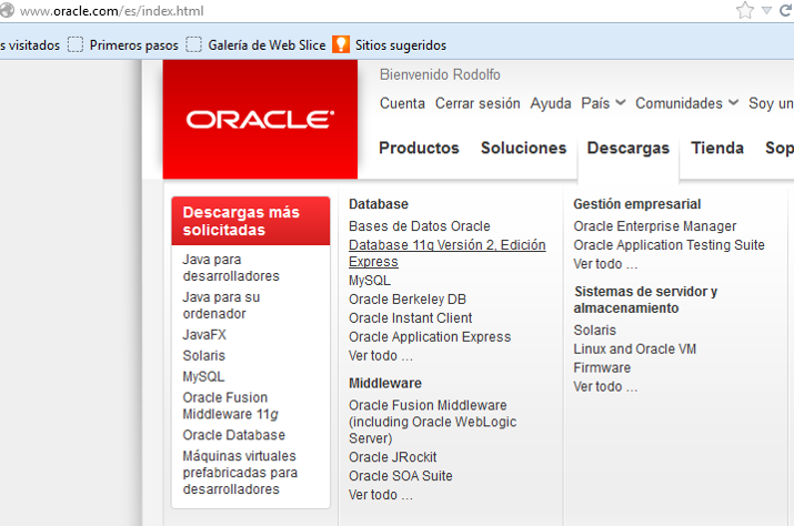 Link para descargar Oracle